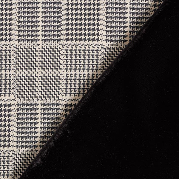 Doubleface Samt-Scuba Glencheck – beige/schwarz