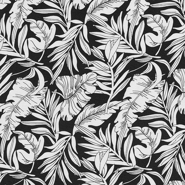 Tissu de chemisier viscose feuilles de palmier – noir/blanc