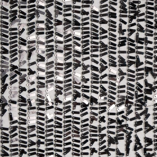 Softmesh Paillettenstoff rechteckige Pailletten – schwarz