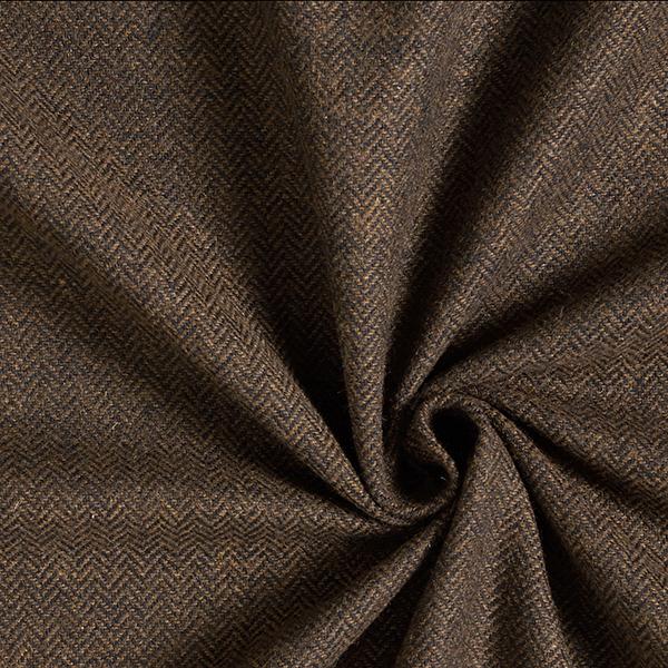 Tissu pour manteau Mélange de laine Motif chevron – marron foncé