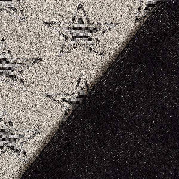 Tissu éponge doux Double face Étoiles – sable/noir