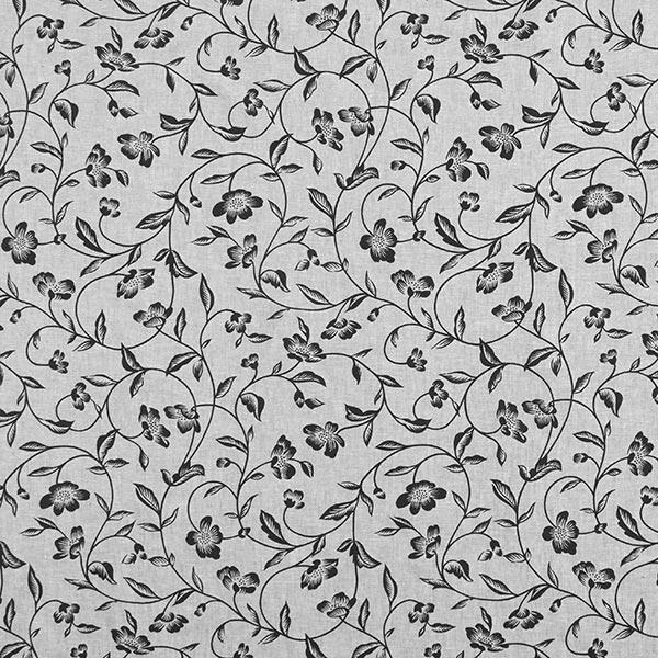 Mélange lin coton Rinceaux de fleurs – gris/noir
