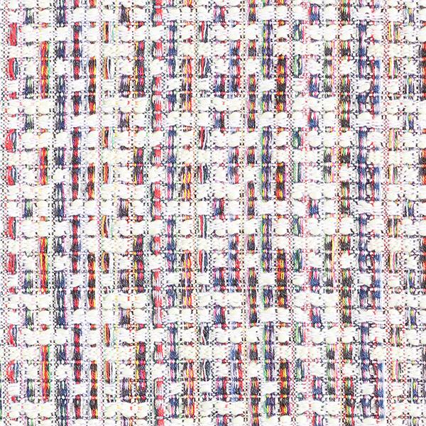 Tissu bouclé motif carreaux multicolore – écru