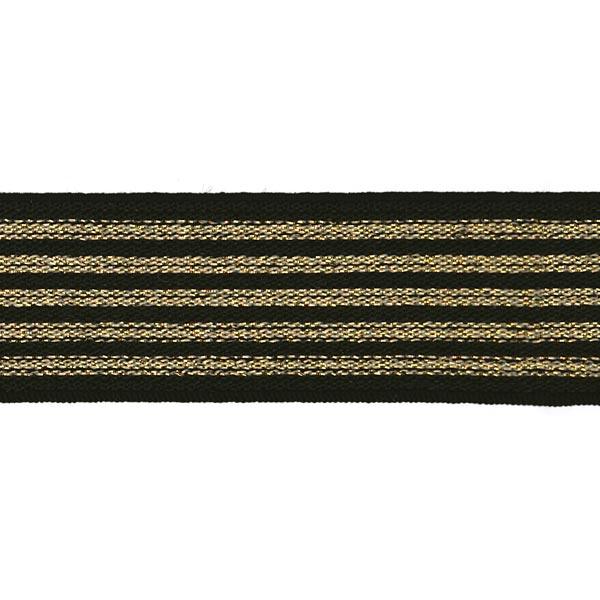 Gestreiftes Gummiband [ Breite: 25 mm ] – schwarz/gold