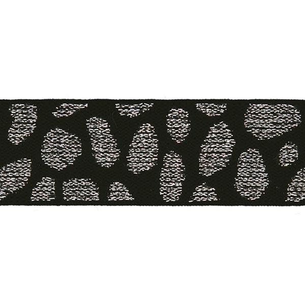 Ruban élastique [ Largeur : 25 mm ] – noir/argent