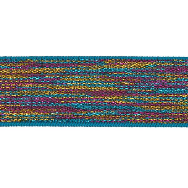 Ruban élastique [ Largeur : 25 mm ] – bleu turquoise/rose vif