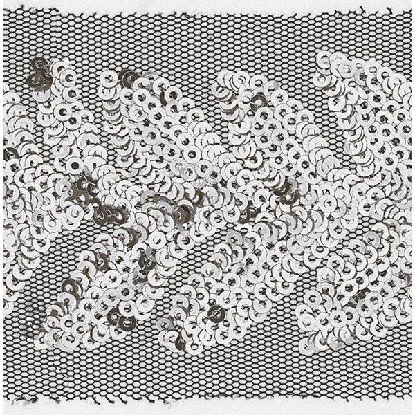 Tüllband mit Pailletten [ 65 mm ] – wollweiss