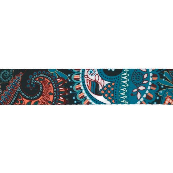 Sangle Floral [ Largeur : 40 mm ] – bleu turquoise/bleu marine