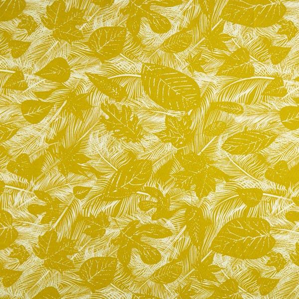 Tissu de décoration semi-panama Feuilles – curry