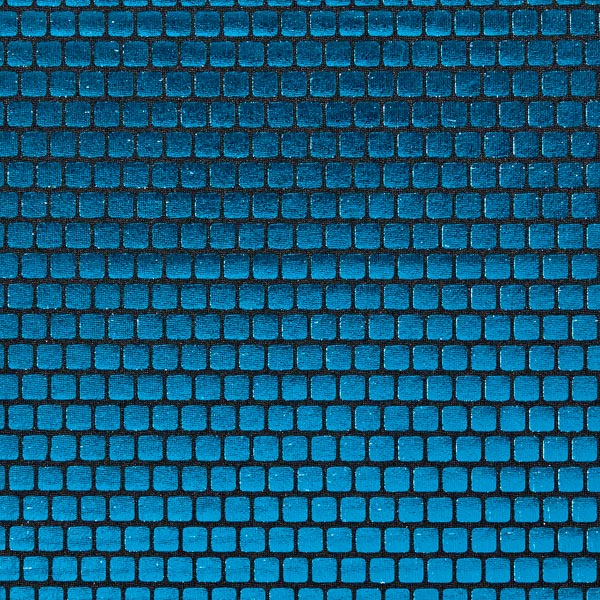 Folienjersey Kästchen 6 x 6 mm – türkisblau