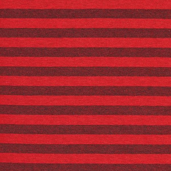 Sweatshirtstoff angeraut Streifen 10 mm – signalrot