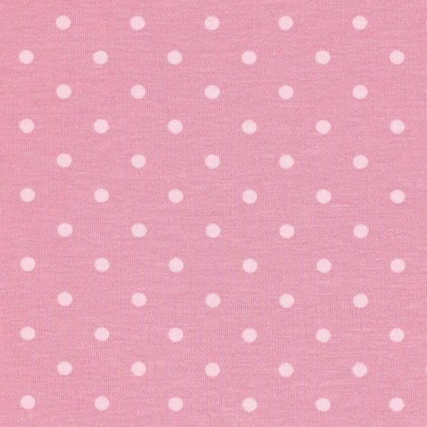 Jersey coton Petits points – vieux rose/rose
