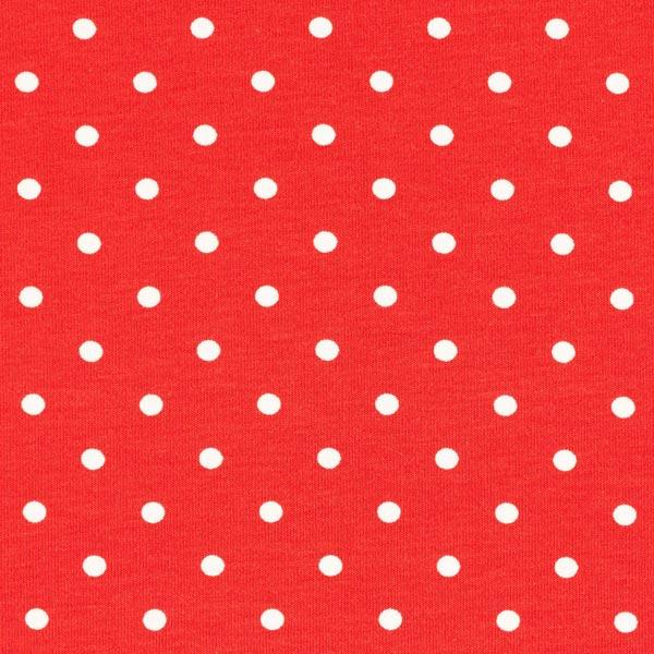 Jersey coton Petits points – rouge/blanc
