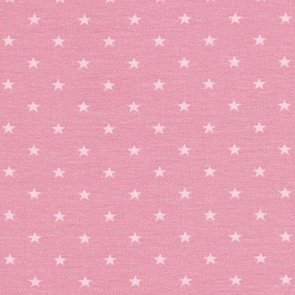 Jersey coton Petites étoiles – vieux rose/rose