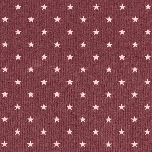 Jersey coton Petites étoiles – rouge bordeaux/rose