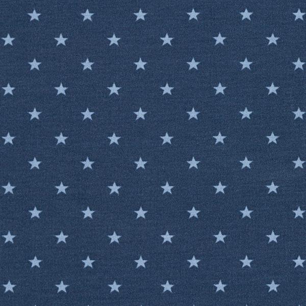 Baumwolljersey Sternchen – marineblau/jeansblau