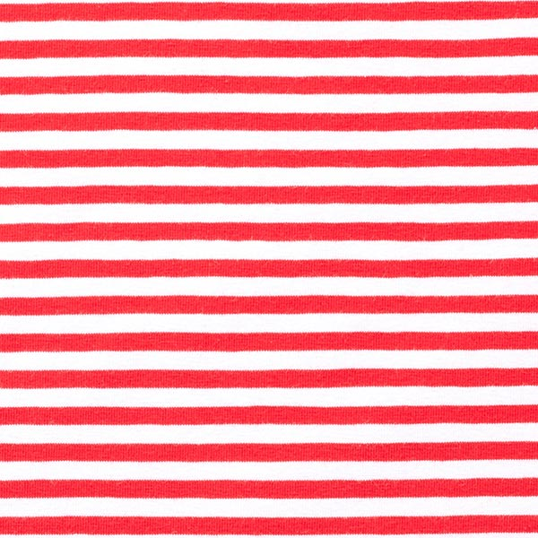 Baumwolljersey schmale Streifen – rot/weiss