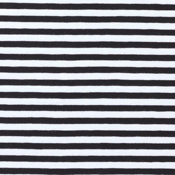 Baumwolljersey schmale Streifen – schwarz/weiss