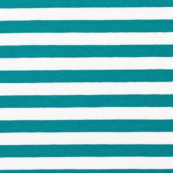 Jersey coton Rayures larges – pétrole/blanc