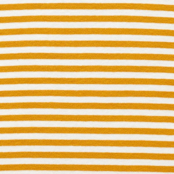 Tissu bord-côtes tubulaire Rayures étroites – moutarde/blanc