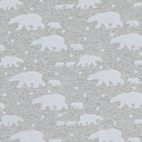 French Terry Impression floquée Famille ours polaire – gris
