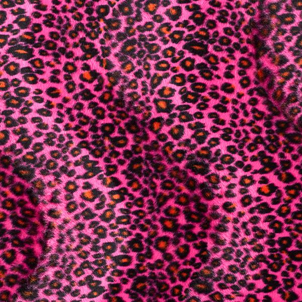 Karnevalsstoff Kunstfell Leo-Muster – pink