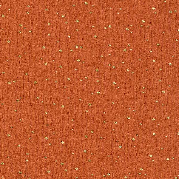 Baumwoll Musselin verstreute Goldtupfen – terracotta/gold