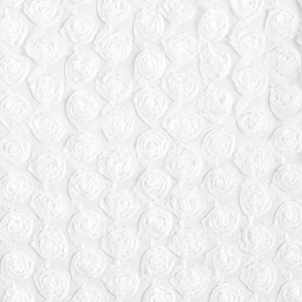 Softmesh Blumenstickerei 3D-Rosen – weiss