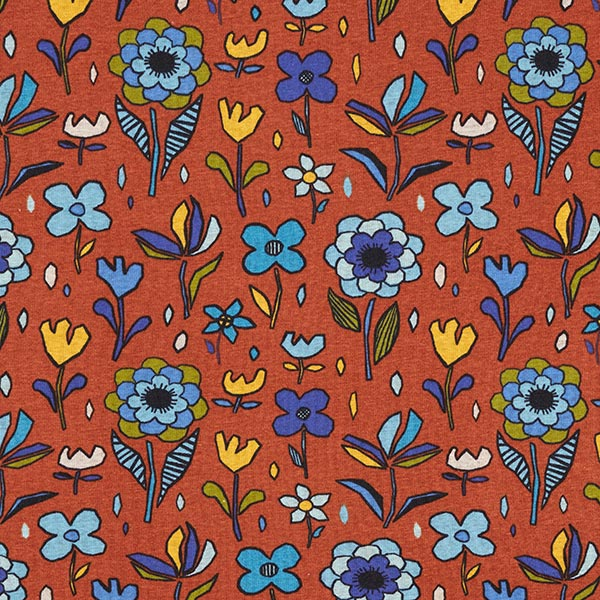Polaire alpin Fleurs automnales – terre cuite/bleu clair