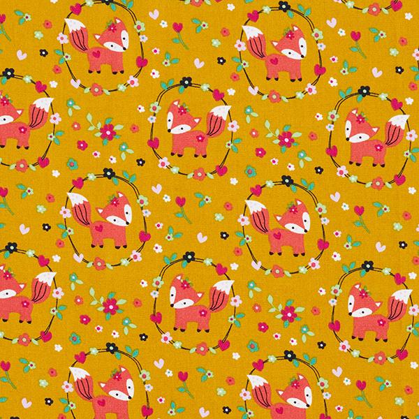 Popeline coton Prairie de renard – moutarde