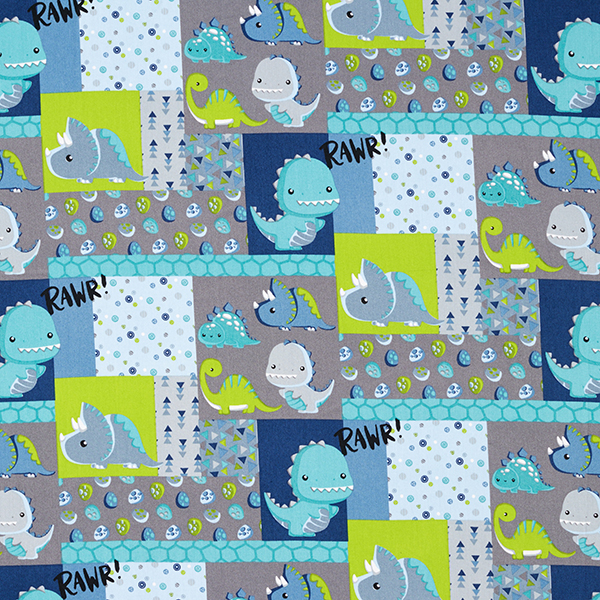 Popeline coton Dino-Patchwork – turquoise/bleu