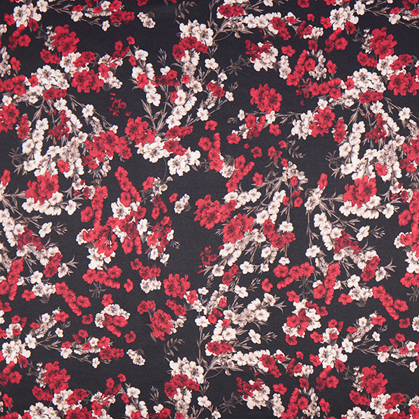 Stretch polyester satin branches de fleurs – noir