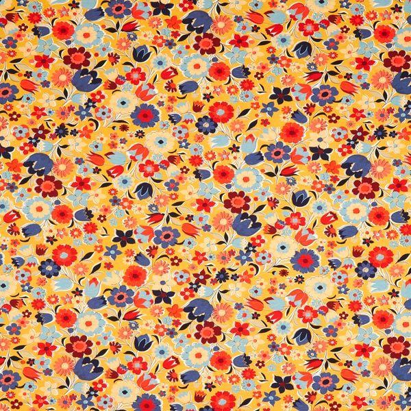 Jersey coton Flower Power – moutarde