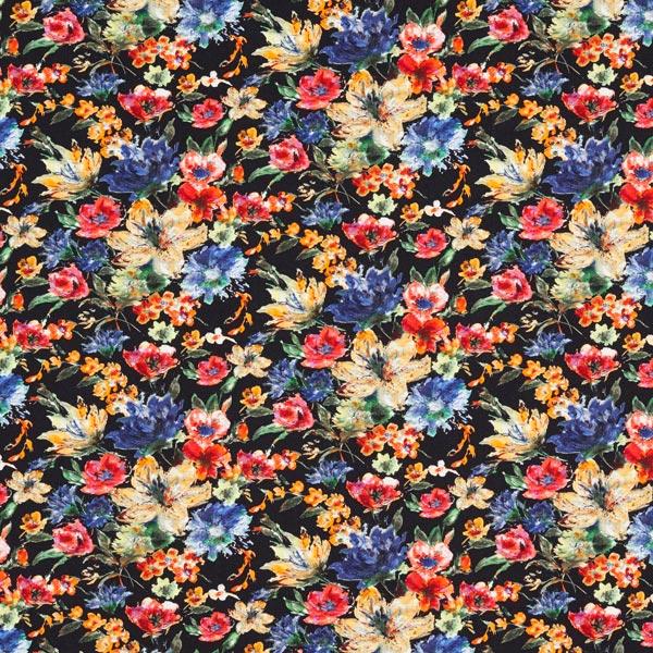 Jersey coton Peintures de fleurs – noir
