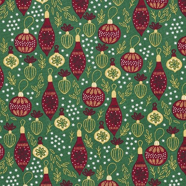 Baumwollstoff Popeline Weihnachtsbaumkugeln – dunkelgrün