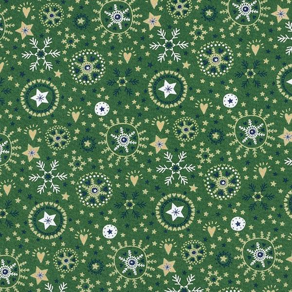 Baumwollstoff Popeline Schneeflocken und Sterne – dunkelgrün
