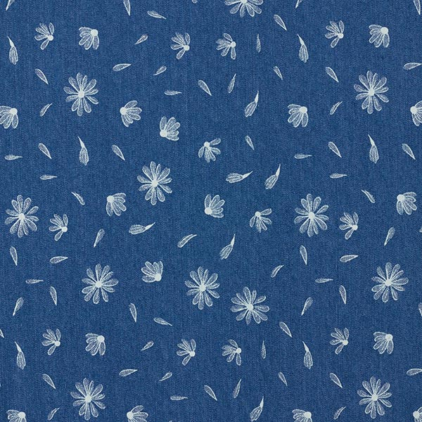 Denim léger stretch pâquerettes – bleu jean