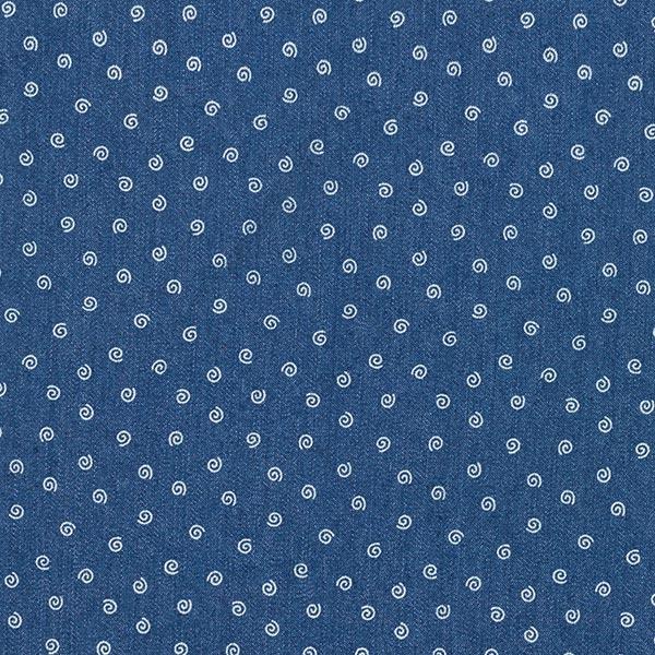 Denim léger stretch pâquerettes et mini spirales – bleu jean