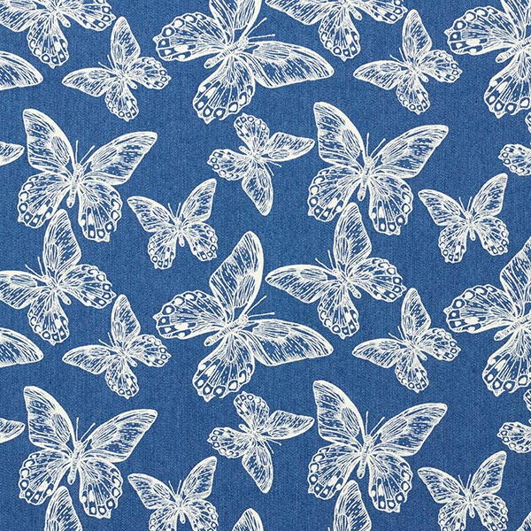 Tissu jeans Stretch Light Papillon – bleu jean
