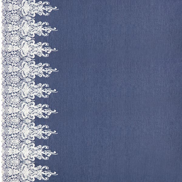 Chambray avec broderies en bordure Ornemental – bleu marine/blanc