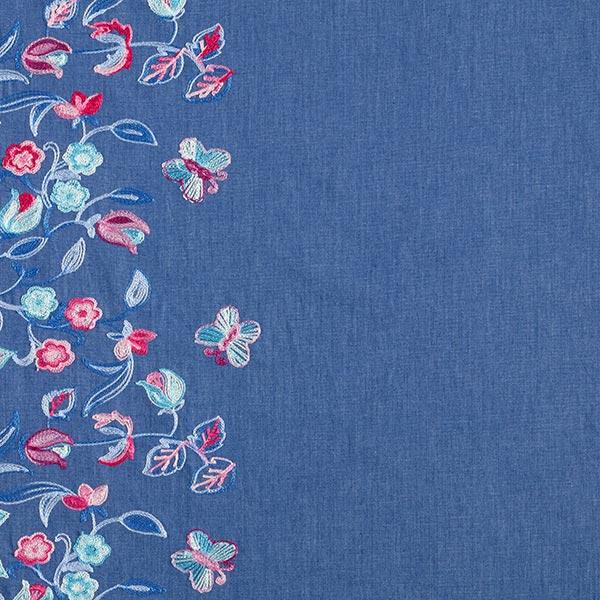 Chambray mit Bordürenstickerei Blumenranken – jeansblau/beere