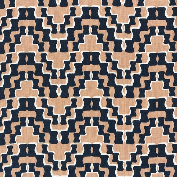 Tissu pour chemisier Viscose Stretch Motif rétro – navy/beige