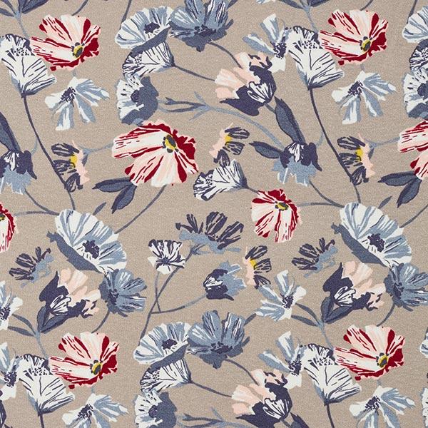 Jersey viscose rinceaux de fleurs – sable