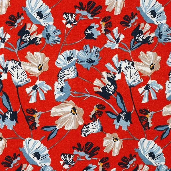Viskosejersey Blumenranken – rot