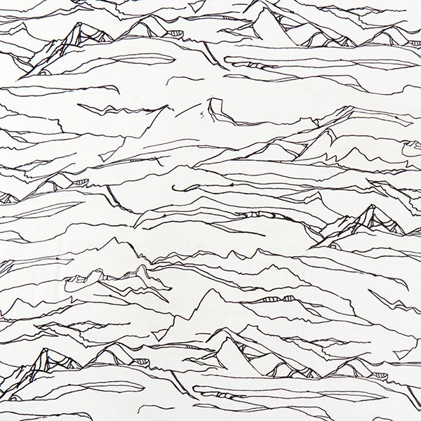 Chiffon Montagne abstraite – blanc/noir