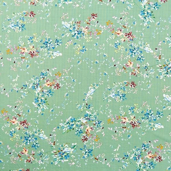 Baumwoll-Viskose-Mix Pastell Blumen – mintgrün
