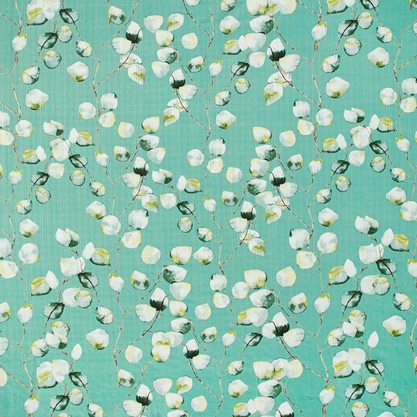 Mélange coton viscose feuilles pastel – vert menthe