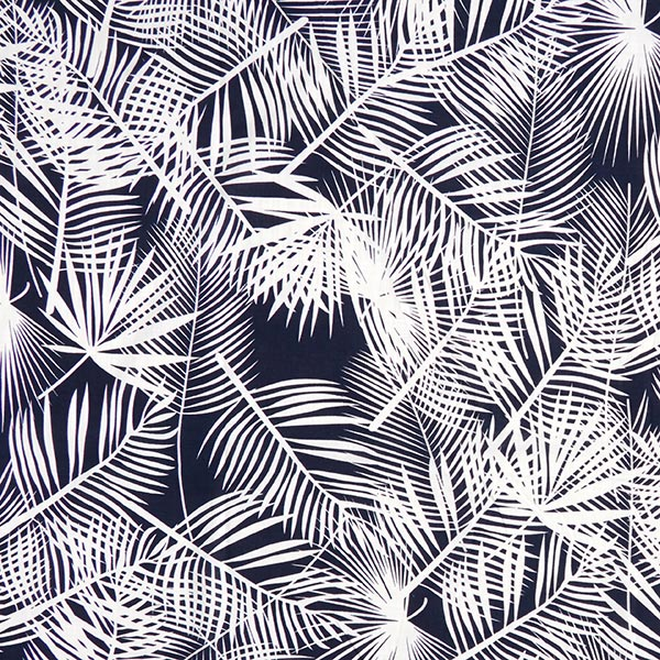 Baumwoll-Viskose-Mix Palmenblätter – marineblau/weiss