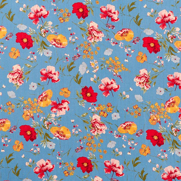 Viskosestoff Glitzerstreifen und Blumen – blau
