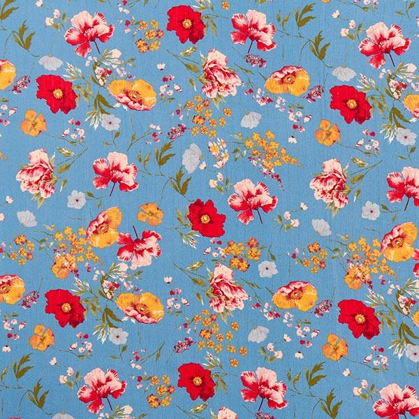 Tissu en viscose rayures brillantes et fleurs – bleu